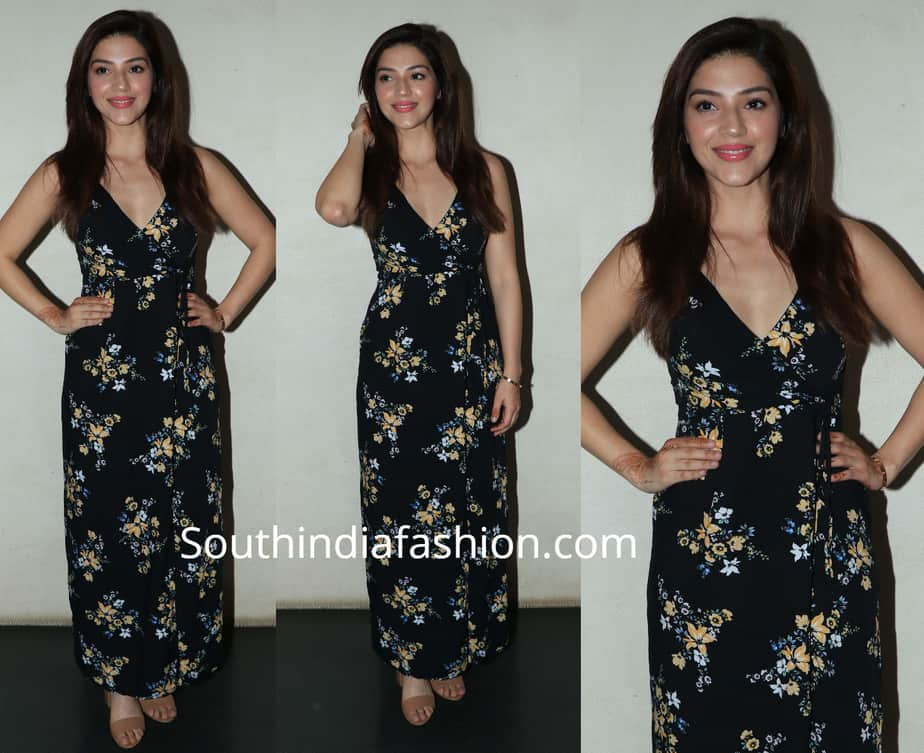 mehreen in black maxi dress at f2 screening
