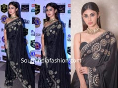 mouni roy in a black saree at the lions gold awards