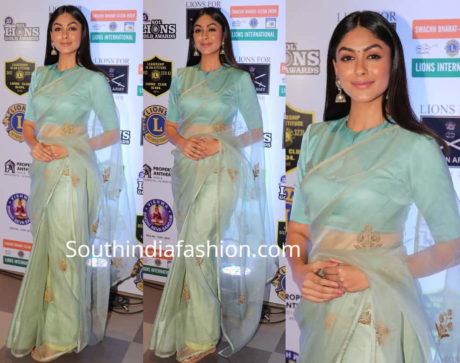 mrunal thakur green saree at lions gold awards
