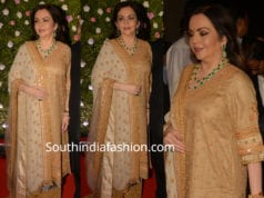 nita ambani in cream palazzo suit at amit thackeray wedding reception
