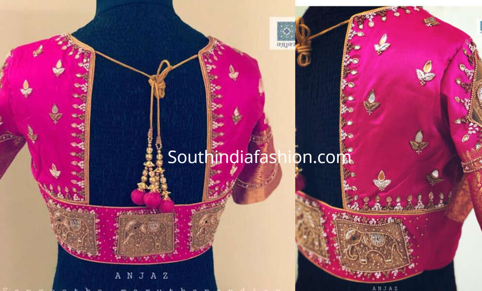 pattu blouse with elephant motifs