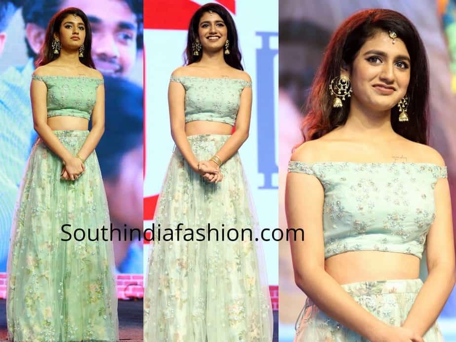 priya varrier in long skirt crop top at lovers day audio launch