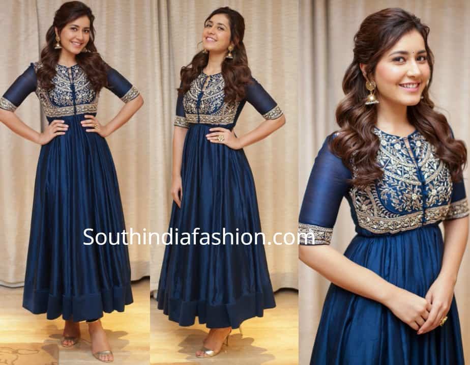 raashi khanna in blue anarkali by jayanti reddy