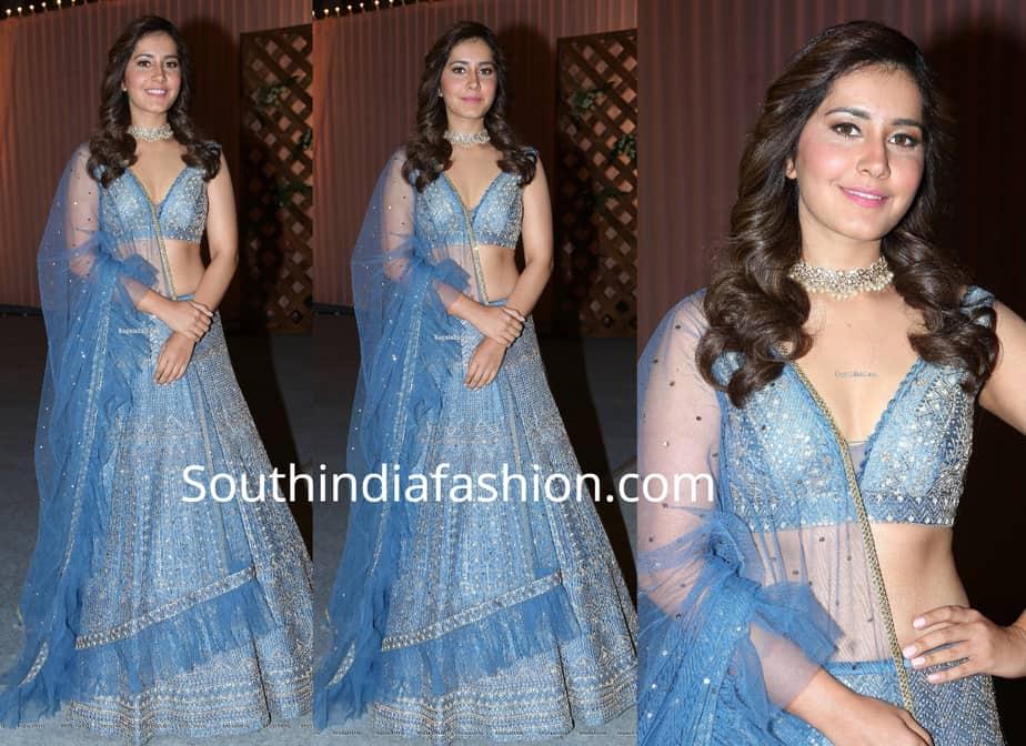 raashi khanna blue lehenga at rajamouli son wedding reception