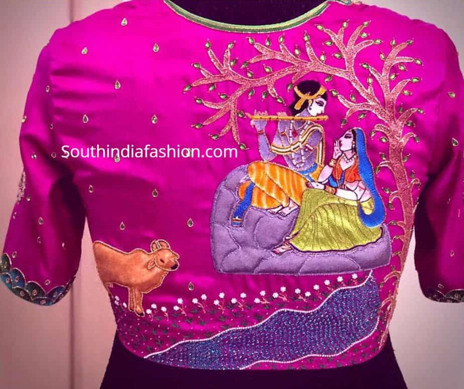 radha krishna design blouse