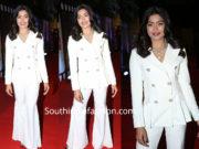rashmika mandanna white pantsuit at zee cine awards 2019