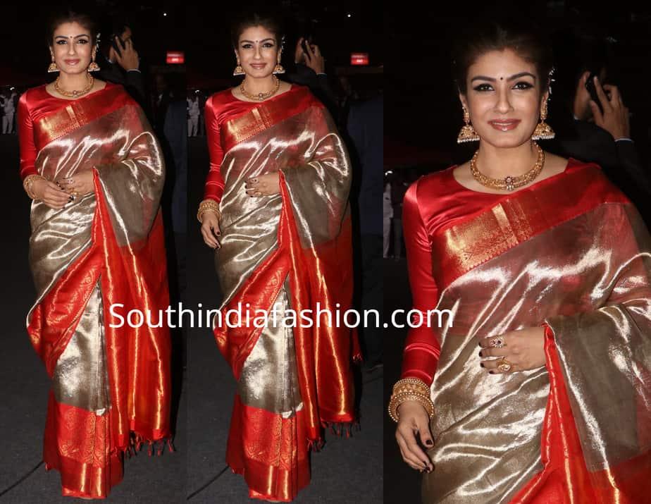 raveena tandon in silk saree at umang police show