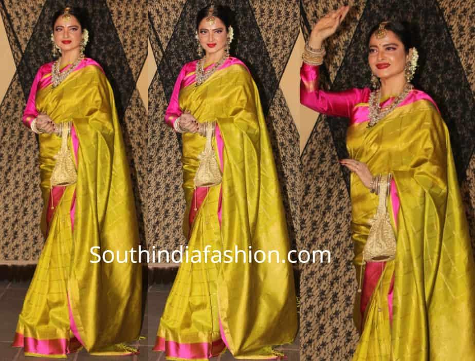 rekha in a green kanjeevaram saree at alia bhatt cousin sakshi bhatt wedding reception