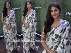 rhea chakraborty in printed white saree at teach for change