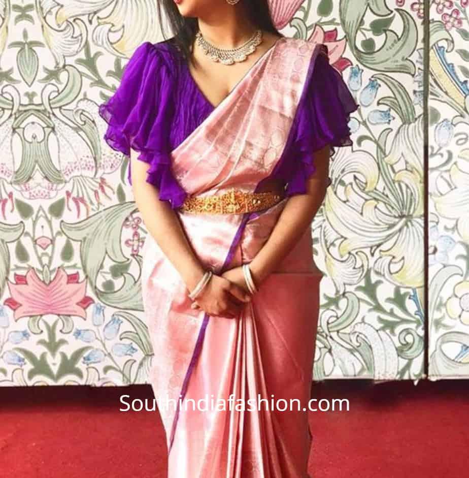 ruffle sleeves blouse for pattu sarees