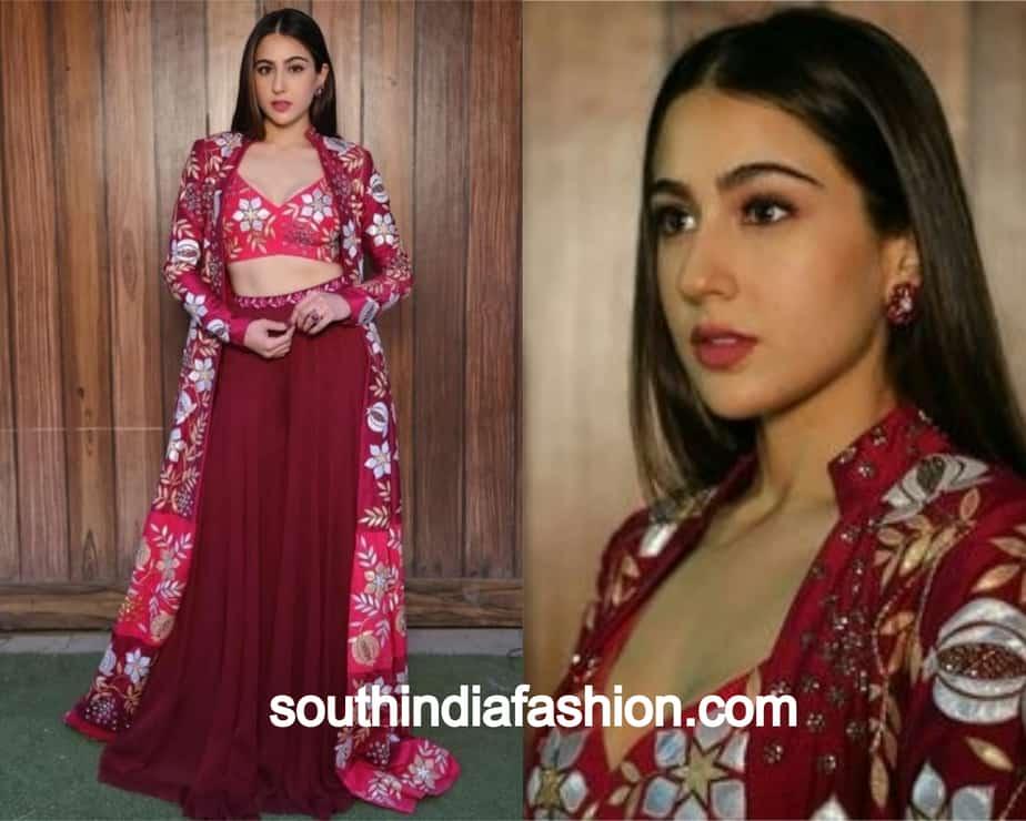 sara ali khan in maroon outfit
