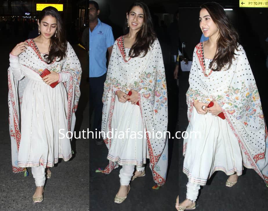 sara ali khan in white anarkali suit