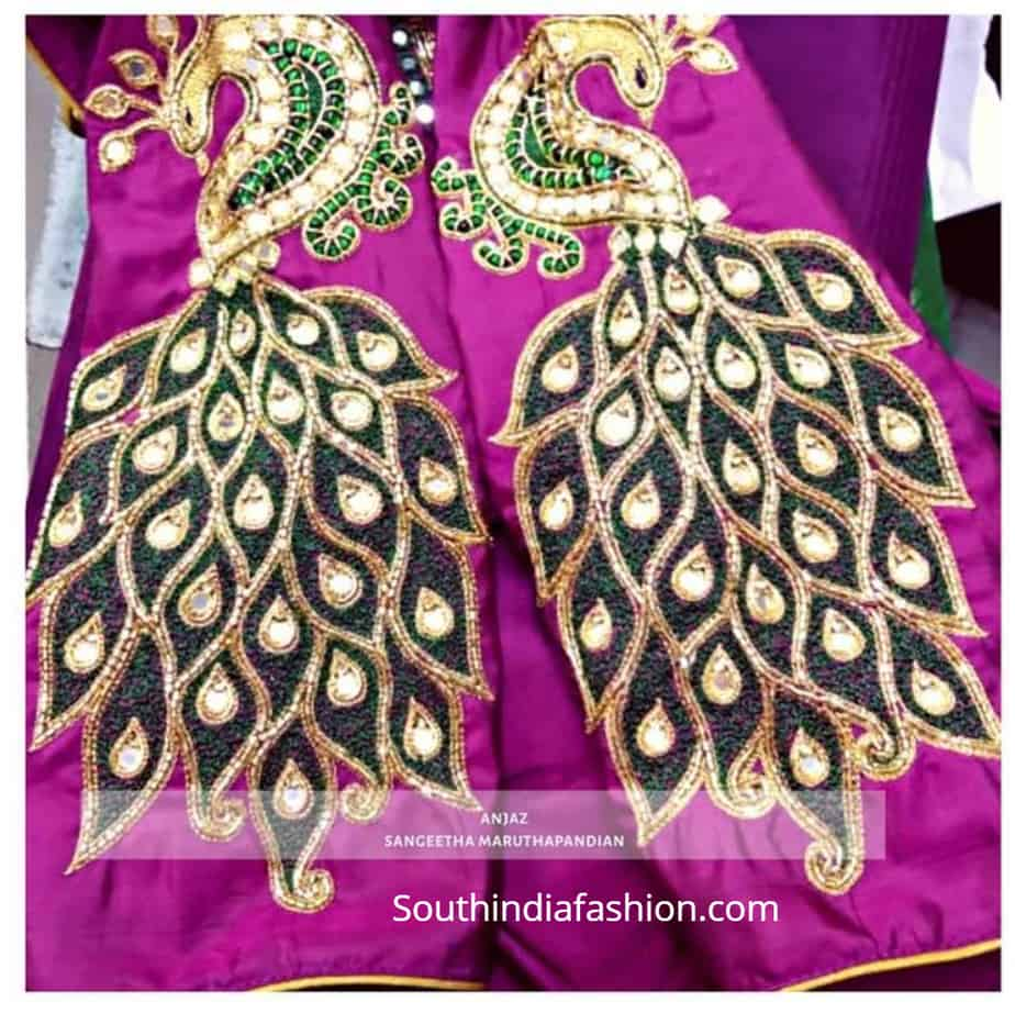 saree blouse with peacock embroidery