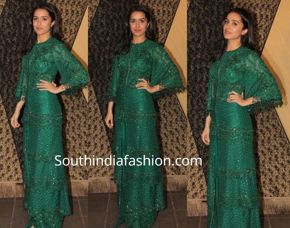 shraddha kapoor in green dress at sakshi bhatt wedding reception