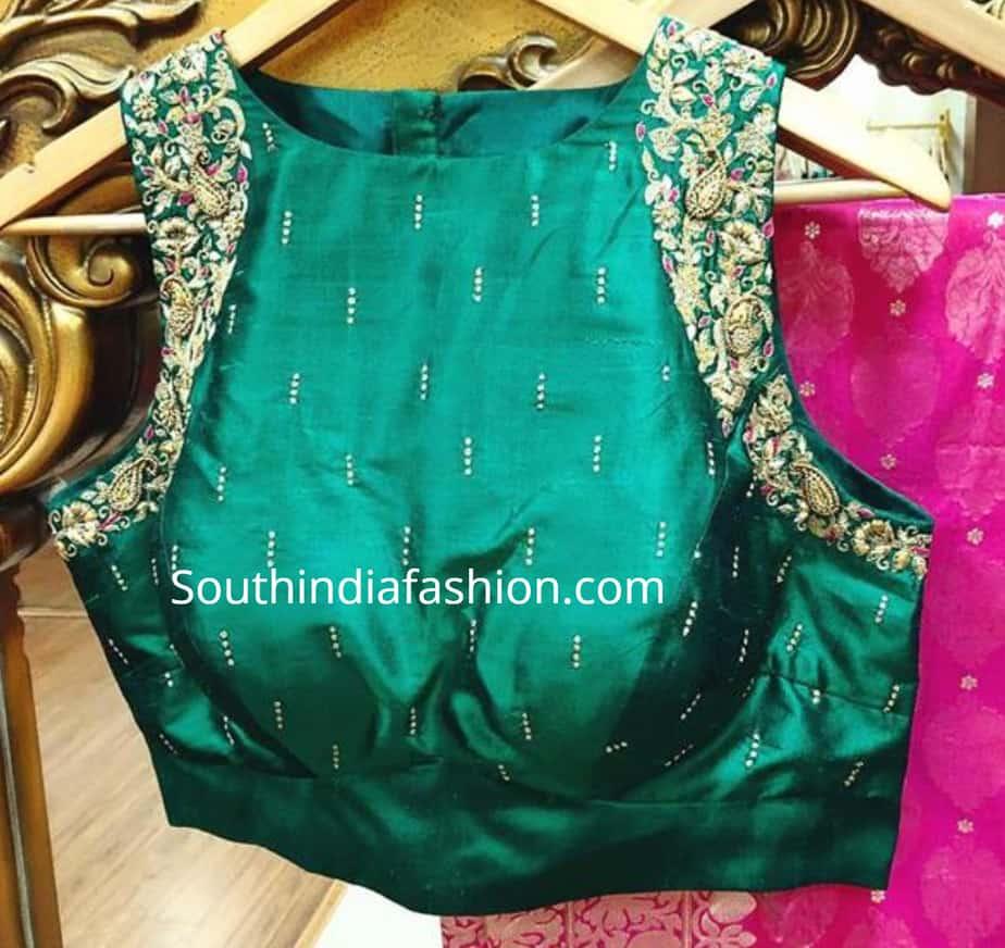 sleeveless maggam work blouse for silk sarees