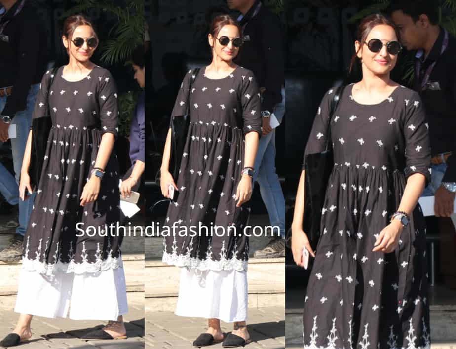 sonakshi sinha in black kurta by libas