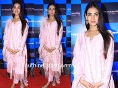 sonal chauhan at manikarnika screening pink salwar kameez