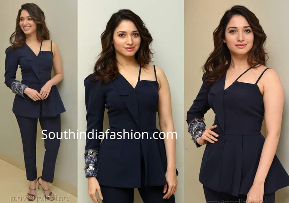 tamannaah bhatia blue pantsuit at f2 trailer launch
