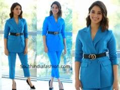 tamannaah blue pantsuit f2 success meet