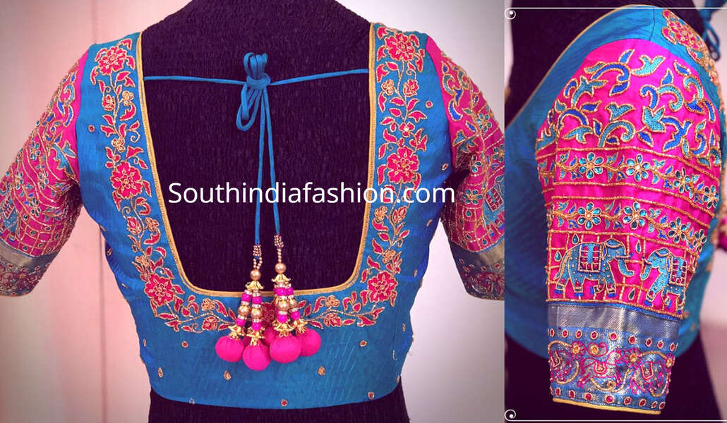 thread work blouse for pattu sarees