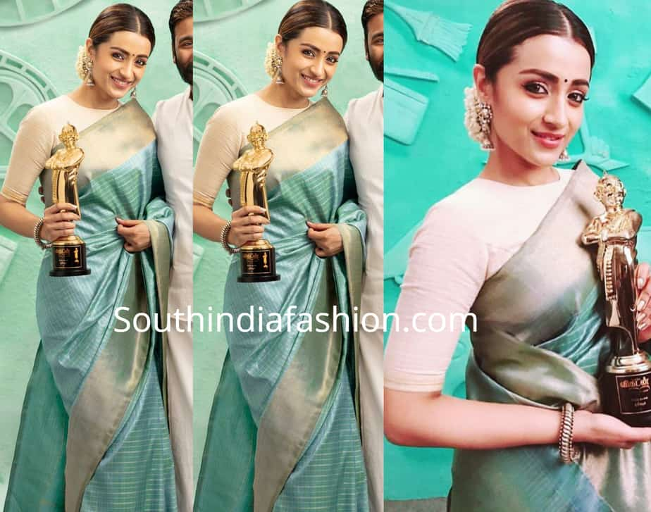 trisha krishnan blue silk saree at vikatan awards
