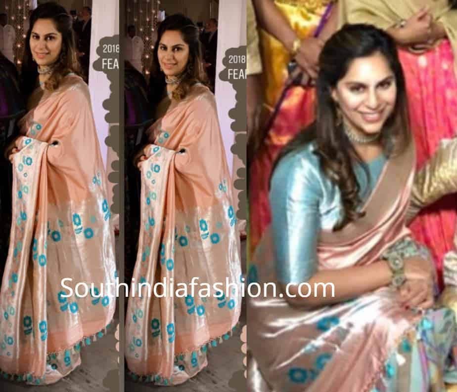 upasana silk saree at rajamouli son wedding