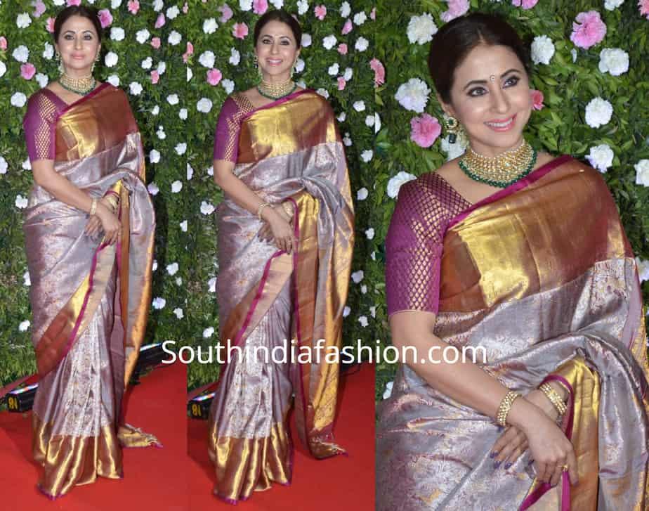 urmila in grey kanjeevaram saree at amit thackeray wedding reception