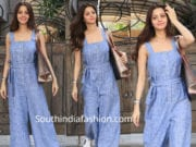 vedhika in a blue jumpsuit