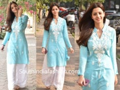 vedhika blue and white palazzo suit