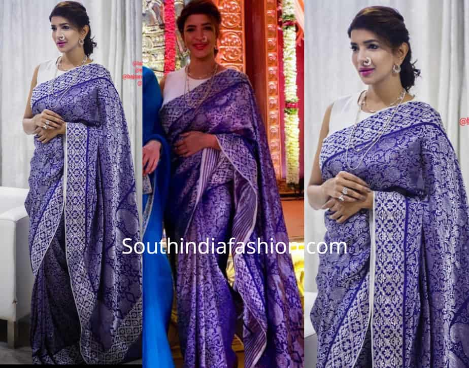 lakshmi manchi in blue silk saree