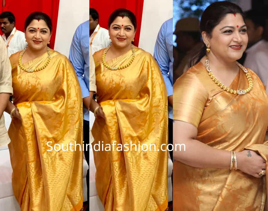 khushbu sundar in silk saree at spundarya rajinikanth wedding reception
