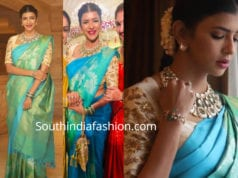 lakshmi manchu blue saree at soundarya rajinikanth wedding