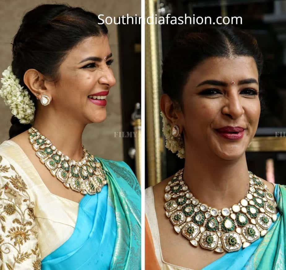 lakshmi manchu blue saree at soundarya rajinikanth wedding