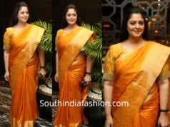 nagma orange silk saree