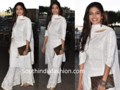 malavika mohanan in white palazzo suit