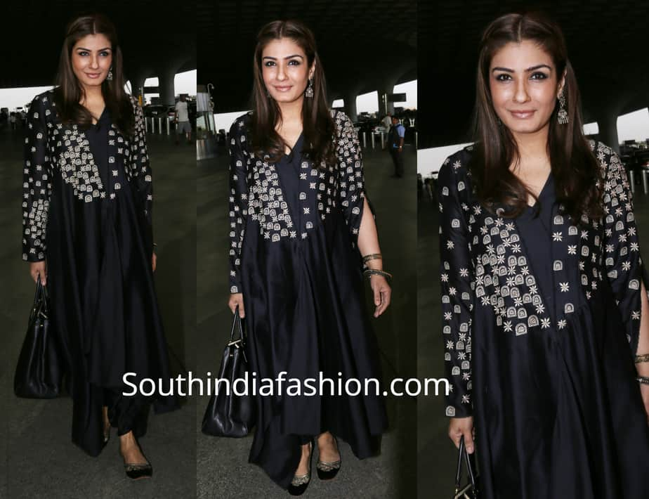 raveena tandon airport black kurta