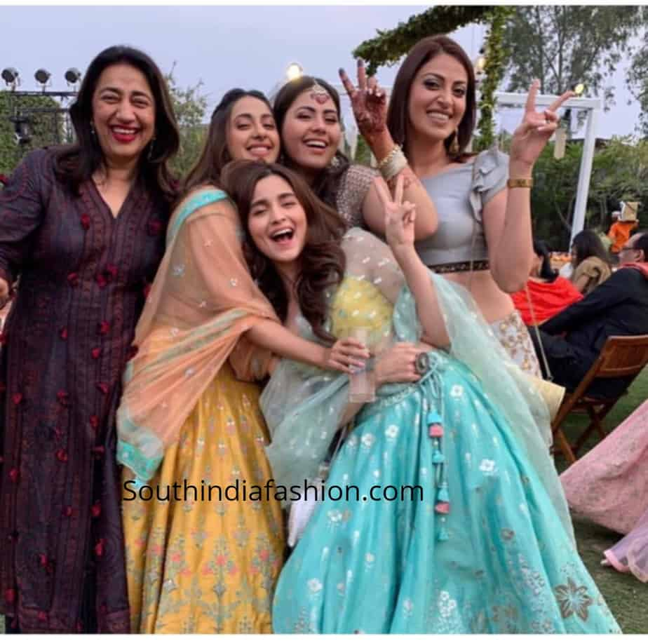 alia bhatt in blue lehenga at her friend wedding