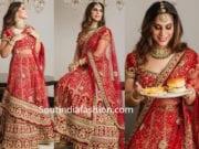 upasana kaminnei in red bridal lehenga