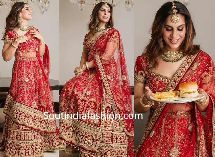upasana kaminnei in red bridal lehenga