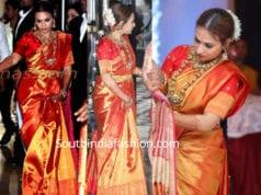 aishwarya dhanush in red kanjeevaram saree at soundarya wedding