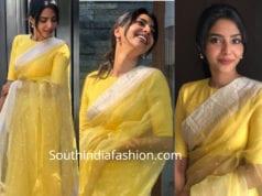 aishwarya lekshmi yellow saree