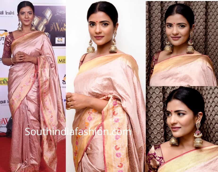 aishwarya rajesh in pink banarasi silk saree