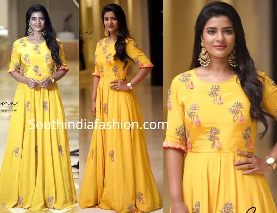 aishwarya rajesh in yellow gown at edison awards 2019