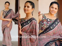 anchor anasuya in ikat saree with kalamkari blouse