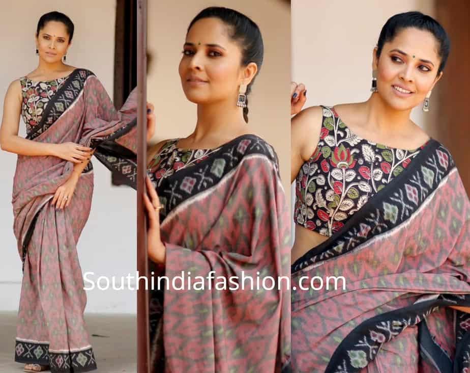 anchor anasuya in ikat saree with kalamkari blouse