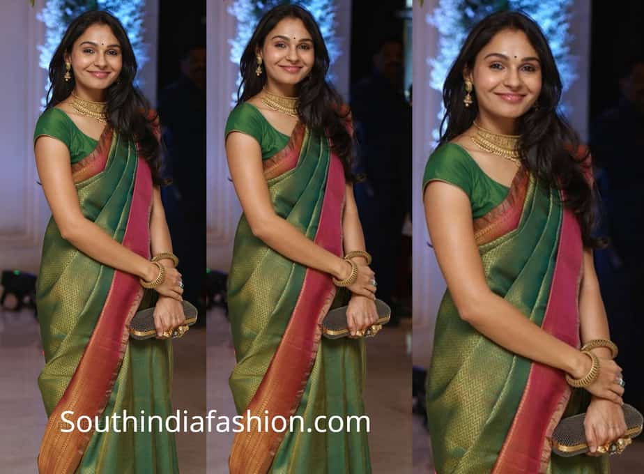 andrea jeremiah in green silk saree at soundarya rajinikanth wedding