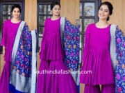 bindu madhavii purple sharara with banarasi dupatta