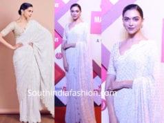 deepika padukone white saree lokmat maharashtrian awards