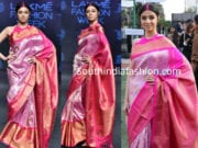 divya khosla kumar in pink kanjeevaram saree at lakme fashion week