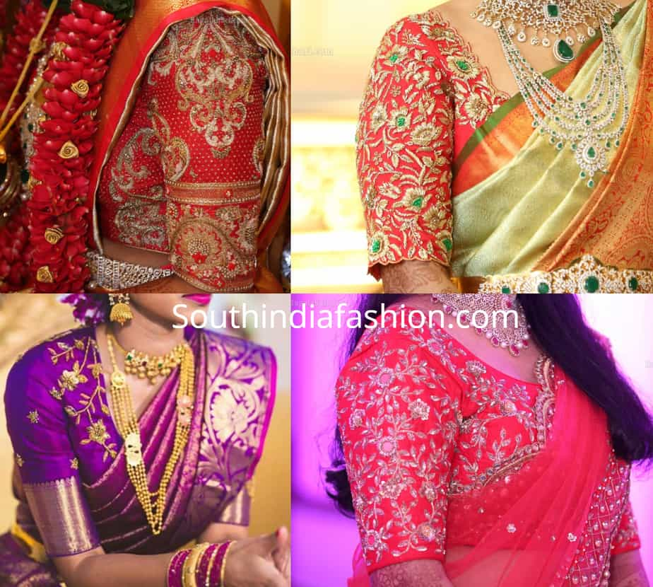 elbow length leeves embroidered blouse designs